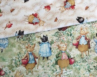 RESERVED Beatrix Potter Pigling Bland cotton fabric 2008