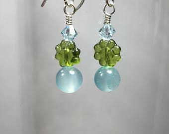 Blue Quartz Earrings -  Swarovski Crystal - Pressed Glass Flower beads- Argentium Silver -  Sterling silver