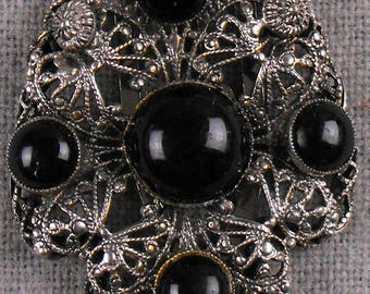 Black Cabochon Dress Clip