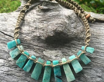 Handmade Hemp Macrame Necklace with Amazonite Semi Precious Stone Beads