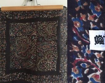 Vintage Anokhi paisley block print indian cotton neckerchief /70' s indian cotton small scarf/ 70's boho silk scarf
