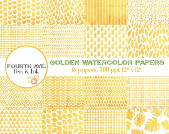 Watercolor Scrapbook Paper, Golden, Yellow-Orange, Watercolor, Patterns, Digital Paper Pack, Digital Paper,  Digital Scrapbook