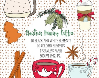 Christmas Coffee Clipart, Christmas Morning Coffee, Hand Drawn Christmas Clipart, Christmas Morning Clipart, DIY Christmas Card