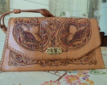 Vintage 50's Floral Tooled Leather Purse Bag with Braided Handle 1950's