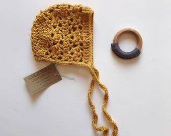The Lucy Bonnet // Sungold // Size 0-3 Months // Ready to Ship