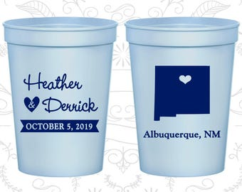 New Mexico Wedding Cups, New Mexico Wedding, Drink Cups, Destination Wedding, State Cups, Customizable Cups (130)