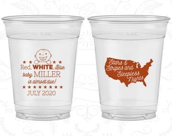 4th of July Baby Shower, Baby Shower Soft Sided Cups, Stars and Stripes and Sleepless Nights, Baby Shower Disposable Cups (90197)