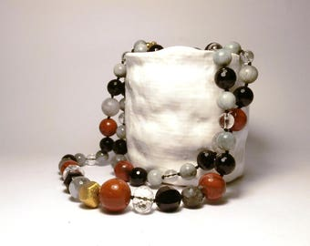 Red Jasper long necklace.Onyx big necklace. Hawk eye  gemstone necklace.Rock Crystal necklace.Grey Quartz neck.Italian Jewelry.Made in Italy