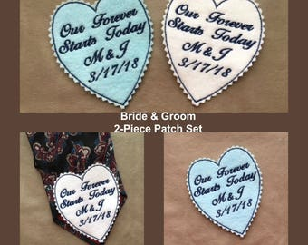 BRIDE and GROOM GIFT Set of 2 Felt Patches - Something Blue, Groom Tie Patch, Iron On, Sew On Tie Patches, Bridal Gift, Gifts for the Groom