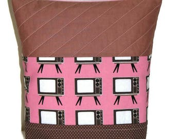 Large Quilted Zippered Pouch, Cosmetics Bag, Project Bag, Pink and Brown Retro TVs, Quiltsy Handmade