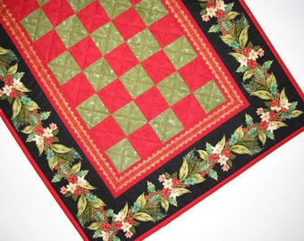 Christmas Quilted Table Runner, Christmas Garland Table Mat, Holiday Checkerboard Table Runner, 17 in. x 35 in., Quiltsy Handmade