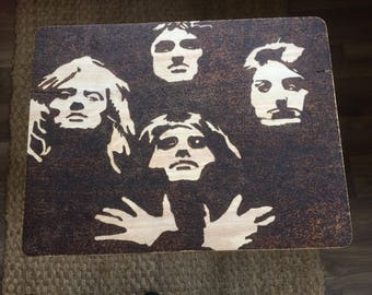 Queen Bohemian Rhapsody woodburned pyrography tv/side fold up table