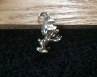 Stamped solid  silver smurf figurine pendant