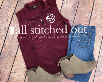 Monogrammed Fleece Vest - Personalized Fleece Vest - Preppy Vest - Outerwear - Gift for her - Monogrammed vest - Personalized Winter Vest