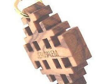 """Olive wood Jerusalem Cross Laser Pendant (2.1cm or 0.8"""" square)"""