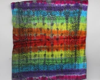 Tie Dye Bandana, Trippy Rainbow handkerchief, OOAK Hippie Fashion