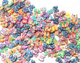 Mini Butterfly Dragonfly Slice Fimo Confetti Shapes Slime Nail Art Crafting Tiny shapes Rainbow Multicolor small mini butterflies confetti