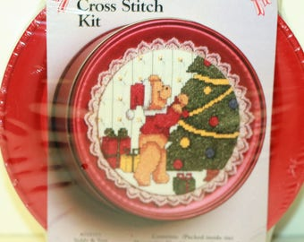 Christmas Cross Stitch Tin Kit Teddy & Tree 028103 by What's New Inc New