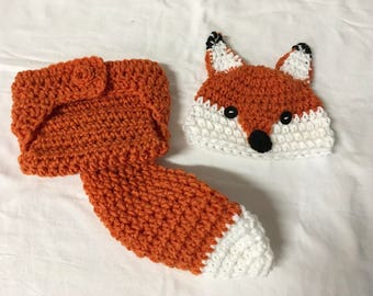 Baby Fox Hat and Diaper Cover