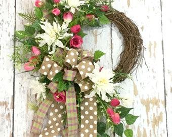 Door Wreaths, Spring Wreath, Everyday Wreaths for the Front Door, Mothers Day wreath, Year Round Door hanger, Spring Summer Decor