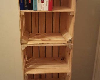 3 x APPLE CRATES with SHELF - Ideal shelving display / bookcase / storage solution / dvd cabinet - handmade apple crate , bushel box