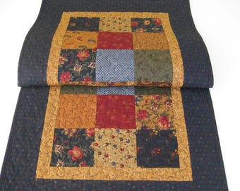 "Quilted Table Runner, Patchwork Table Runner, 18"" X 39"""