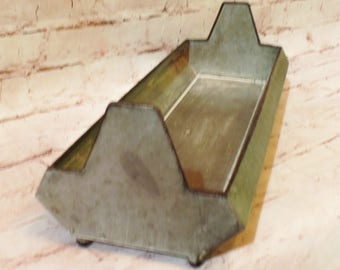 15 Inch Long Galvanized Zinc Trough Chicken Feeder, Silk Flowers and/or Succulents Are Available