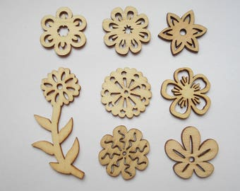 8 wooden figurines wooden nature theme, nine flowers embellishments