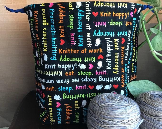Knitting Phrases Large Drawstring Project bag