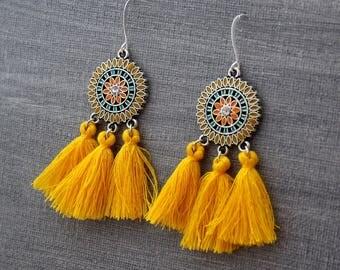 Tassel Earrings - Yellow Tassel Earrings, Chandelier Earrings - Fringe Earrings - Tassle Earrings - Statement Earrings, Boho Earrings (IS2)