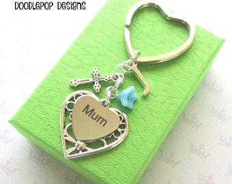 Personalised mum keyring - Birthday gift for mum - Mother's Day gift - Cross keyring - Christian gift - Crucifix keychain - Etsy UK