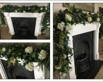 Artificial greenery garland table swag, table runner, top table centrepiece wedding ceremony arch floral foliage with additional flowers
