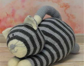 KNITTING PATTERN - Playful Cat Soft Toy Knitting Pattern Download From Knitting by Post