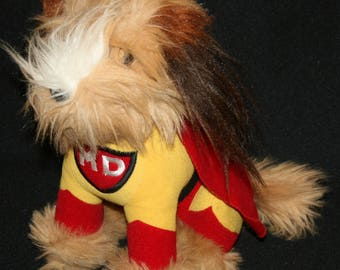 Vtg 1984 Carnation Mighty Dog Plush Stuffed Animal Advertising Cape Super Hero Vintage Puppy