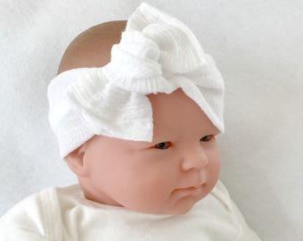 Muslin headband, baby bow headband, baby girl headband, newborn headband, headwrap for baby, white baby headband, baby knot headband