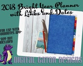 2018 Bright Year Digital Planner with Linked Tabs and Dates