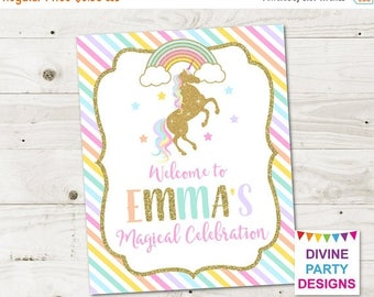 SALE PERSONALIZED Printable Gold Glitter Unicorn and Rainbows Welcome Sign / Birthday Party / Baby Shower / Unicorn Collection / Item #3504