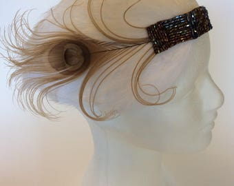 Art Deco wedding headpiece,  1920s great gatsby feather , gunmetal bronze bridal wedding copper beaded 1920s flapper costume, curled feather