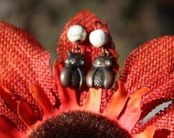 Bronze Owl Earrings