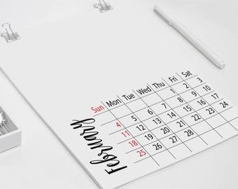 2018 blank calendar, DIY Calendar, Minimal Calendar, Blank wall calendar, modern wall calendar, blank Photo calendar, editable PDF calendar