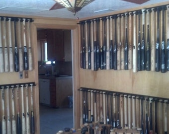 Vertical baseball bat display rack for regular bats (Priced by the inch / shipping included)