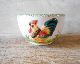 French vintage cafe au lait bowl rooster decor, hand painted, 1960's. French country kitchen, French tableware.