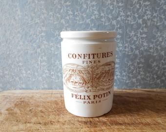 Felix Potin French antique Jar, jam jar KG Lunéville France 1920s.