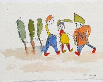 Three friend and three trees-Original Painting