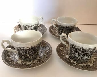 Vintage- (4) Royal Tudor Ware Coaching Taverns Brown (1828) Cups and Saucers