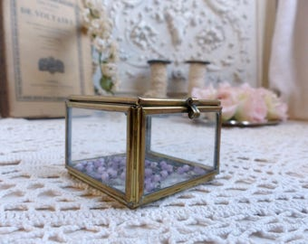 French vintage glass and brass jewelry box. Trinket box. Rosary jewel box. Glass jewelry box. French glass vanity box. Boudoir box