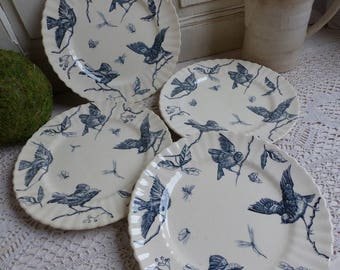 Set of 4 antique french blue transferware dinner plates. Blue transferware birds plates. Navy blue Birds butterflies dragonfly plates