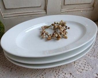 Set of 3 antique french Paris porcelain oval platters. Vieux Paris porcelain serving platters. Heavy restaurant porcelain meat platters
