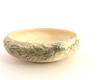 McCoy 444 Bowl Succulent Planter Grecian Saucer Laurel Wreath Serving Dish Plant Holder 24K Gold Green Glaze Moss Ceramic Shallow Bowl