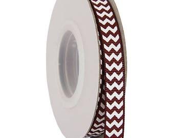 "Grosgrain Chevron Ribbon 3/8"" - 10 Yards - Chocolate"